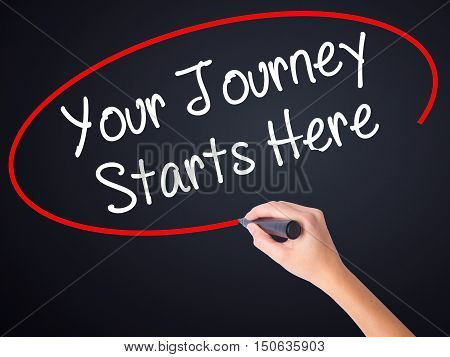 Woman Hand Writing Your Journey Starts Here With A Marker Over Transparent Board