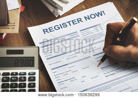 Register Now Application Form Concept