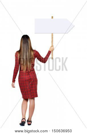 Back view woman showing sign board. man holds information plate. Rear view people collection. backside view of person. Isolated over white background. Long-haired girl in a red dress holding a pointer