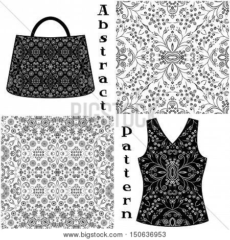 Set Seamless Floral Patterns, Black Contours Isolated on White Background, Elements for Your Design, Prints and Banners, For the Example Presented in a Female Top and a Bag. Vector