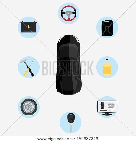 Vector illustration car service infographics. Auto service and repair icons. Black car top view