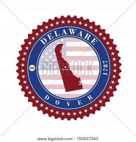 Label sticker cards of State Delaware USA. Stylized badge with the name of the State year of creation the contour maps and the names abbreviations.
