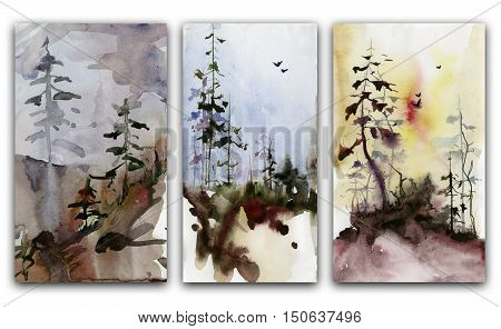 Set of three forest landscapes. Watercolor painting.