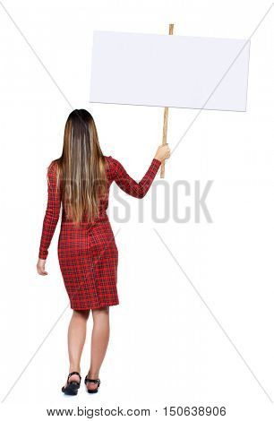 Back view woman showing sign board. man holds information plate. Rear view people collection. backside view of person. Isolated over white background. Long-haired girl in a red dress holding a poster.
