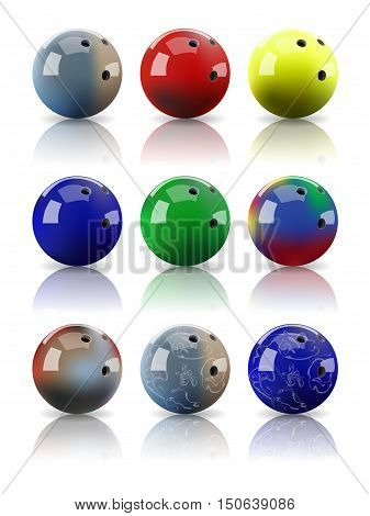 Assorted bowling balls with mirror reflection. Vector realistic illustration.