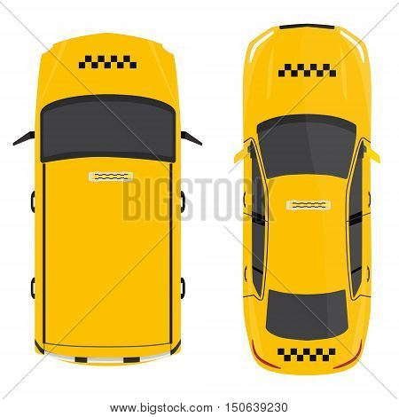 Vector illustration yellow taxi car top view. Public transportation company taxicab