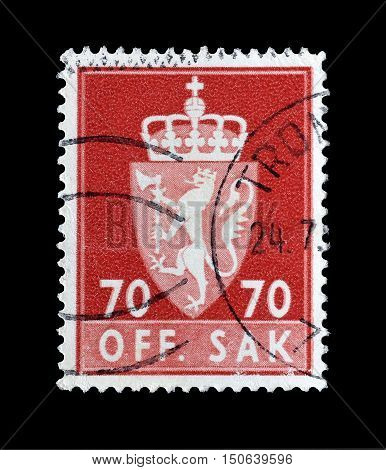 NORWAY - CIRCA 1982 : Cancelled postage stamp printed by Norway, that shows Coat of arms.