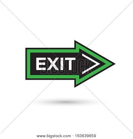 Flat style arrow shaped exit sign. Escape symbol isolated on white background for web design. Vector illustration