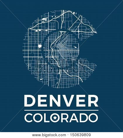 Colorado T-shirt Graphic Design With Denver City Map. Tee Shirt Print, Typography, Label, Badge, Emb