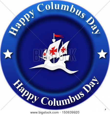 Columbus day, blue round banner with ship and text