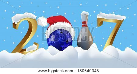 Vector bowling 2017 New Year with bowling ball and pin on snowing background.