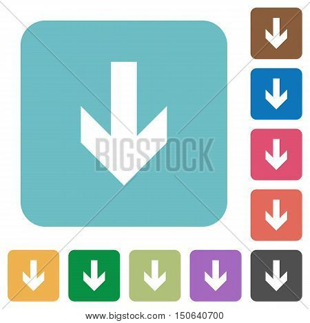 Flat down arrow icons on rounded square color backgrounds.