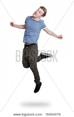 A guy jumping with joy