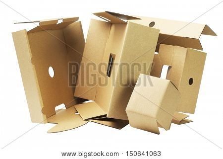 Discarded Packaging Cardboard For Recycling  on White Background