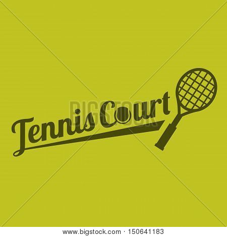 Vector typography tennis court on yellow background