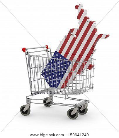 Usa 3D Map Into Shopping Cart