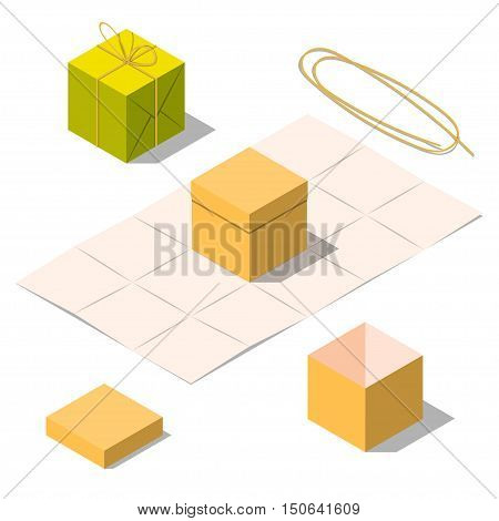 Opened and closed present and gift boxes with rope bow isolated on white background. Gift in paper bag. Unwrapped present box. Isometric vector illustration