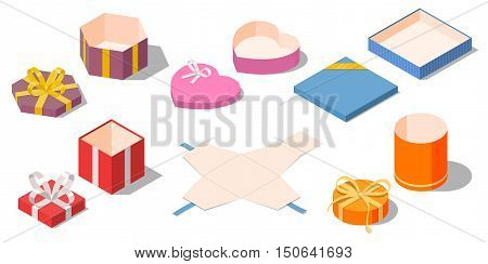 Set of opened different presents and gifts boxes. Unwrapped colored packaging with ribbon bow isolated on white background. Isometric vector illustration
