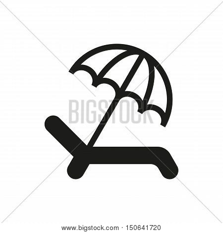 Umbrella Recliner icon on white background Created For Mobile Web Decor Print Products Applications. Icon isolated. Vector illustration
