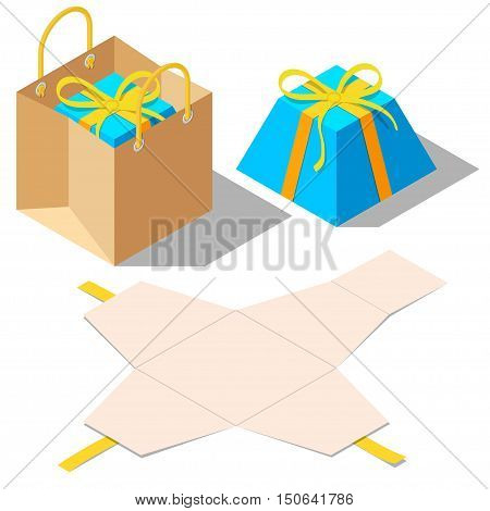 Opened and closed present and gift pyramid shaped boxes with ribbon bow isolated on white background. Gift in paper bag. Unwrapped present box. Isometric vector illustration