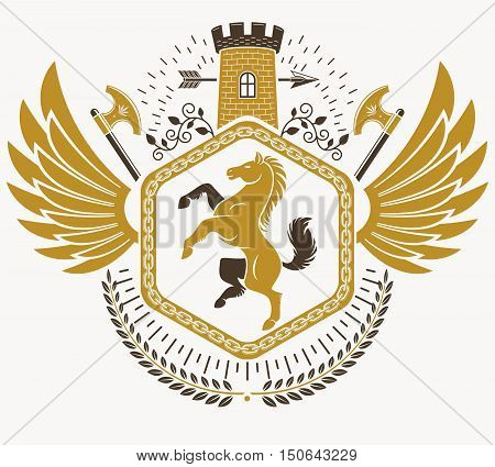Heraldic Coat of Arms vintage vector emblem with castle and horse