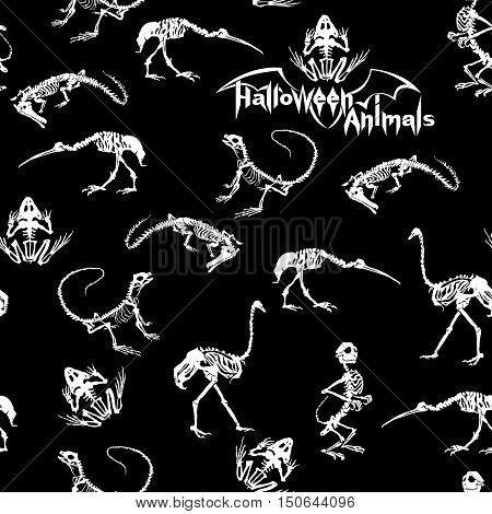Halloween animals - white skeletons of reptiles (crocodiles lizards frogs) monkeys and birds (ostriches and herons) on black background. Seamless pattern.