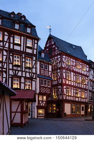 Houses decorated for Christmas in the center  of Bernkastel-Kues.