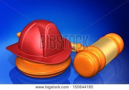 Fireman Helmet Legal Gavel Concept 3D Illustration