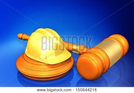 Construction Helmet Legal Gavel Concept 3D Illustration