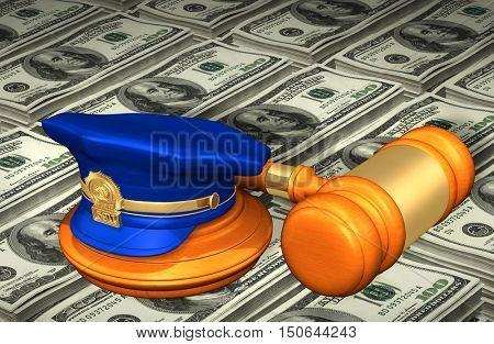 Police Legal Gavel Concept 3D Illustration