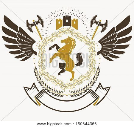 Heraldic Coat of Arms vintage vector emblem with horse illustration