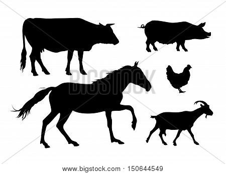 Farm animals silhouettes on white background. Cow horse pig hen goat