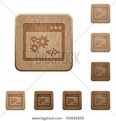 Set of carved wooden application programming interface buttons in 8 variations.