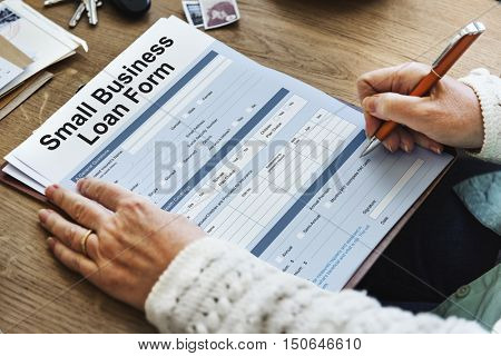 Small Business Loan Form Tax Credits Niche Concept