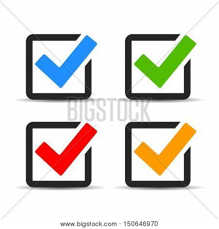 Checkbox icon set vector illustration isolated on white background