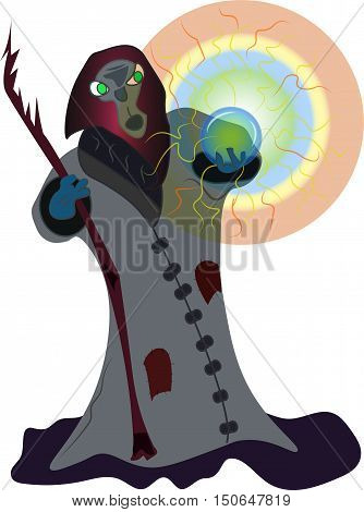 Wizard with Crystal Ball - Vector illustration