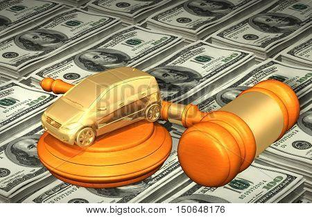 Car Automotive Legal Gavel Concept 3D Illustration