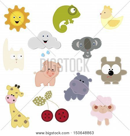 set of patches with the animals and others. baby collection patches for design and decoration clothing shirt  Vector illustration