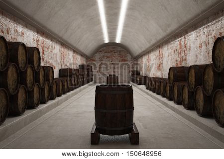 Illuminated cellar with brick walls and rows of wine barrels on the concrete floor. 3d illustration
