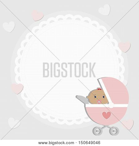 poster for greetings or invitations. Template for decoration and design. Decorative frame baby girl in the pram. vector illustration. Baby shower and arrival