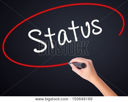 Woman Hand Writing Status With A Marker Over Transparent Board