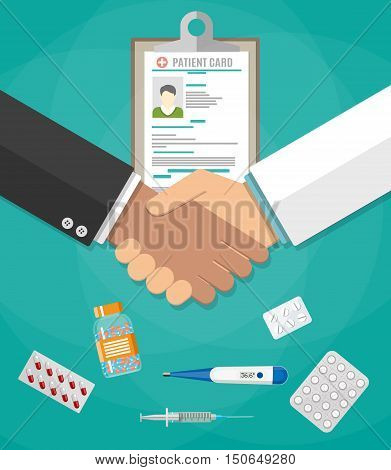 handshake between doctor and patient, patient card, tablets and pills, syringe, thermometer. Healthcare, hospital and medical diagnostics concept. vector illustration in flat style