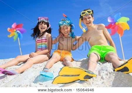 Three kids on beach
