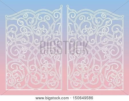 Beautiful iron ornament gates on 2016 year color mix (rose quartz and serenity) gradient background