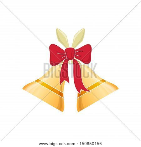 Holiday Jingle Bells Decorated with a Red Bow Isolated on White Background, Merry Christmas and Happy New Year , Christmas Decoration, Vector Illustration