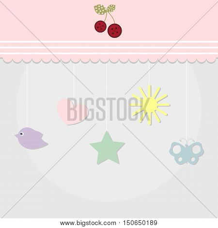 baby birthday card template greeting card or invitation. baby shower and arrival. baby vector illustration