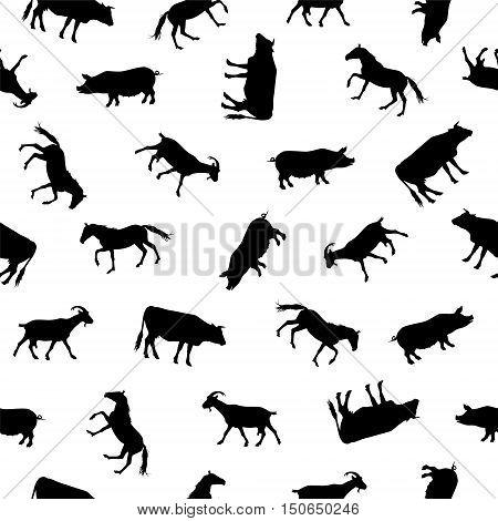 Seamless vector pattern - farm animals silhouettes