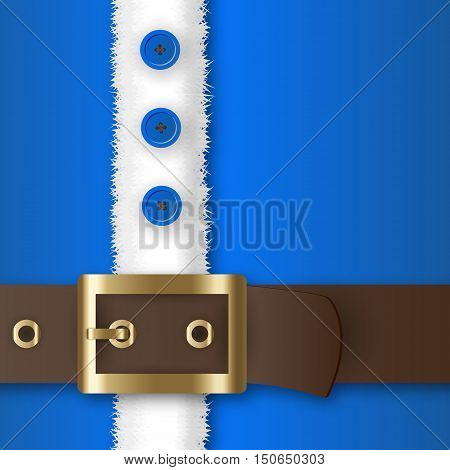 Blue santa claus suit, leather belt with gold buckle, white fur with buttons, concept for greeting or postal card, vector illustration
