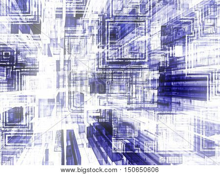 Abstract white and blue background - computer-generated image. Digital art: grid of glass rectangles with perspective, chaos square grid and reflection. Technology, telecommunication or computing concept.