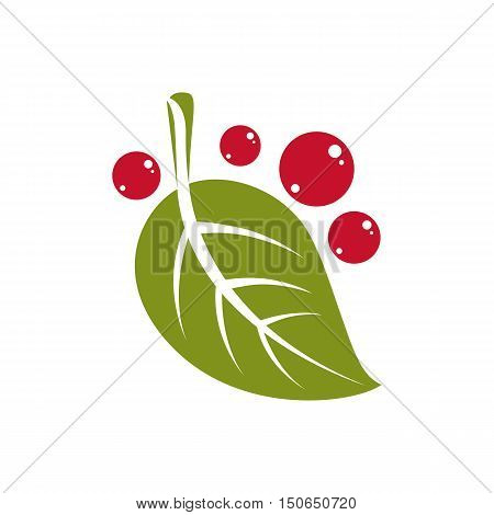 Spring Green Leaf Simple Vector Icon, Nature And Gardening Theme Illustration. Stylized Tree Leaf Wi